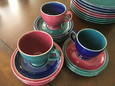 LOT of Denby HARLEQUIN 3 Footed Cups and 11 Saucers