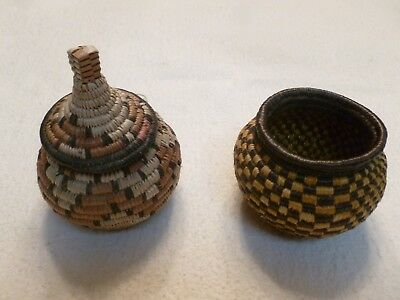 Set of Two ZULU OLD FINE HANDWOVEN Herb Baskets