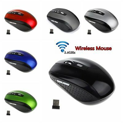 Wireless 2.4GHz Portable Mouse Cordless Optical Gaming Mice With USB Receiver HQ
