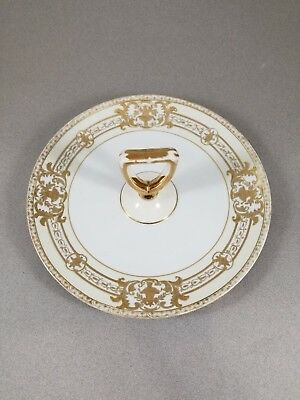 Vintage Noritake Hand Painted 37532 Serving Plate With Center Handle Raised Gold