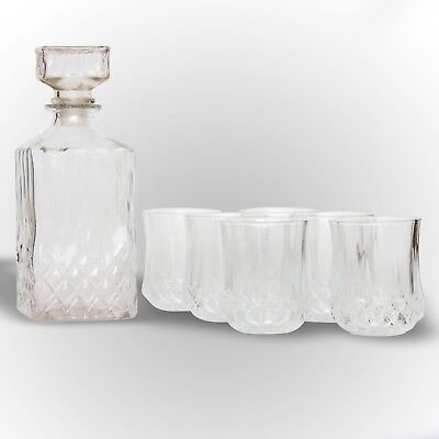 Crystal Glass Whisky Decanter With Tumblers Bar Gift Wine Presentation