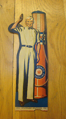 1931 Standard Oil gas station stand up service attendant display advertising vgd