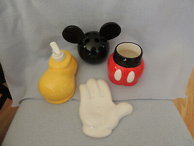 Mickey Mouse Bathroom Set Ceramic Best of Mickey Body Parts 4 Pieces Pre-Owned