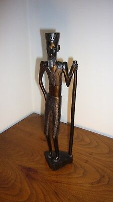 """African hand carved wood statue 14"""" high....fine detail. Bought in early 60's"""