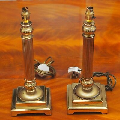 Pair of Vintage Brass Column Style Table Lamps