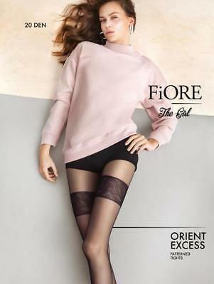 Fiore Orient Excess Mock Stocking Top Tights Pantyhose 20 Denier Black 3 Sizes