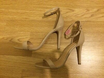 Womens Nude Ankle Strap Stiletto Heels Sandals Size 7