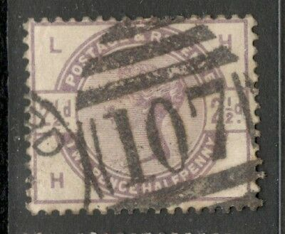 Queen Victoria - SG 190 - 2 1/2d- Lilac - Used - Letters H L