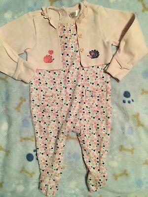 M&Co Baby Girls Cute Playsuit With Mock Cardigan  Age 3-6 Months