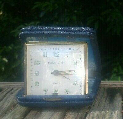 Phinney Walker Traveling Alarm Clock PW 29 BLUE with Box-sold as is not tested