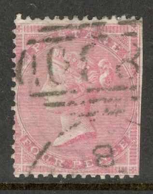 Queen Victoria - SG 66a - 4d Rose - Used -  (£100.00) - Clipped
