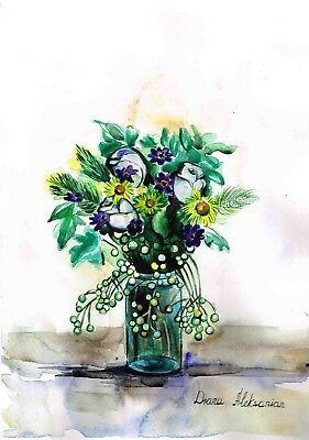 Still Life, Mix Of Wild Flowers. Original Watercolour And Acrylic Painting