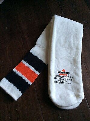 Vintage Wigwam Orlon Black/Red Super Tube Over The Calf Tube Socks Size 9-15 a5