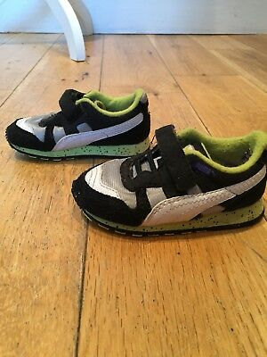 Puma Boys Lime Green Black Grey White Trainers Speckled Sole Toddler Size 4