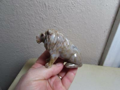 Lion, African, Hand carved Marble from the Andes of Peru Rich Colored Stone Lion