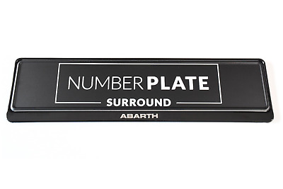 1 x PRESTIGE BLACK STAINLESS STEEL NUMBER PLATE SURROUND HOLDER - FOR ABARTH