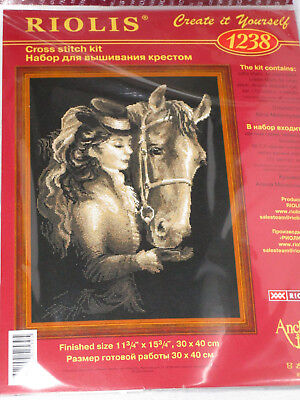 Riolis Girl Feeding Horse Counted Cross Stitch 11x15 Picture Kit