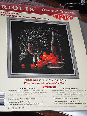 Riolis Wine Still Life Counted Cross Stitch 11x11 Picture Kit