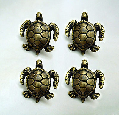 LOT OF 4 PCS UNUSED SLD BRASS ANTIQUE TURTLE Cabinet Door Brass KNOB Drawer Pull