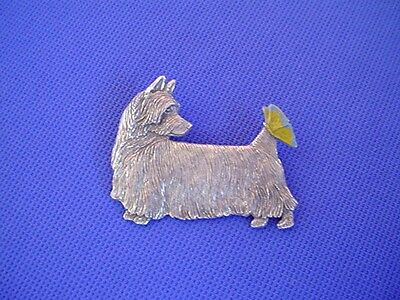 Silky Terrier and Butterfly Pewter pin #49A Dog Jewelry by Cindy A. Conter