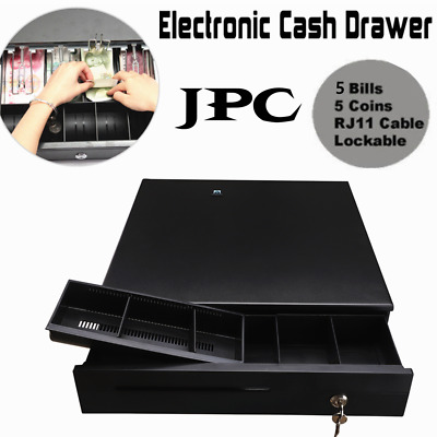 Cash Box 5 Bills 5 Coins Compartment Tray Cashier Drawer Safe Key Money Currency