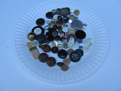 Lot of Vintage Antique Buttons Glass Metal Plastic Small Large 4 Oz