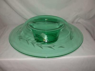 Green Depression Rolled Edge Console Glass Bowl/ Serving Dish W/ Etched Flowers