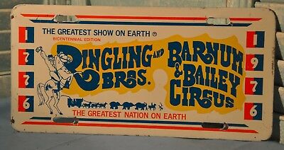 Vintage 1976 Ringling Bros Barnum Bailey Circus Front License Plate Bicentennial