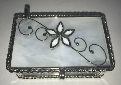 Stained Art Glass and Metal Jewelry Trinket Box Hinged Lid Clear & White Glass