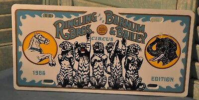 Vintage 1986 Ringling Bros Barnum Bailey Circus Front License Plate Plastic