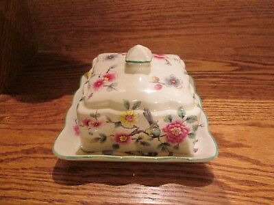 "Old Foley James Kent LTD Made in England ""Chinese Rose"" Butter Dish"