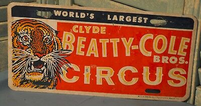 Vintage Clyde Beatty-Cole Bros. Circus Front License Plate Collectible W O Burke