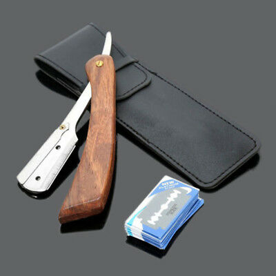 Handle Shaving Razor with 10 Blades Straight Edge Folding Knife Barber Blades