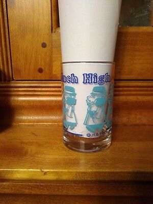 1973 Inch High Private Eye Promo Glass Hanna Barbera Blue and Teal