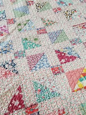 SWEET c1920s-1930s FEED SACK 4 PATCH & CROSS HANDMADE PATCHWORK QUILT