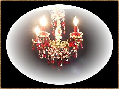 Vintage Brass & Crystal Chandelier Ruby Red Accents Gorgeous Ceiling Light LQQK!