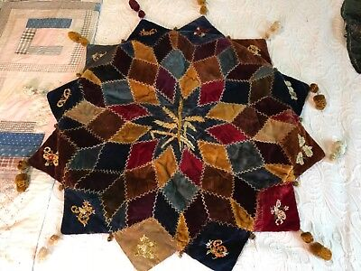 Unusual Star shape velvet and embroidered  crazy quilt signed 1888
