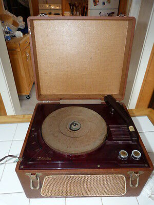 1954 Silvertone model 2246 portable 3-speed phonograph with 2-stage tube amp!