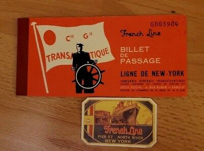 Vintage - French Line - Passenger Ticket + Luggage Label