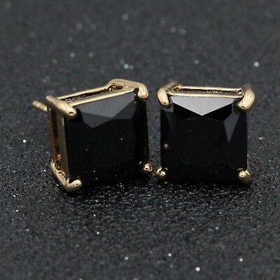 12mm Men Lady 18k Rose Gold Filled Big Black Square Cubic Zirconia Studs Earring