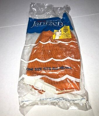 Vintage Jantzen Swim Cap Ladies Model 4211 RARE ORANGE COLOR NEW OLD STOCK