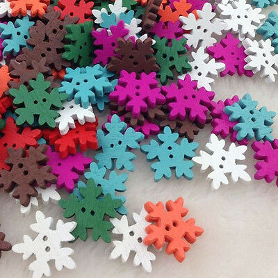 50/100pcs Mix Christmas snowflake Wood Buttons 18 mm Sewing Craft WB196