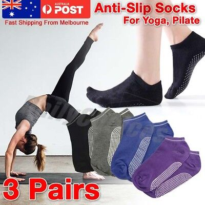 3 Pairs Women Sports Pilates Cotton Yoga Non-Slip Grip Socks Gym Exercise EU