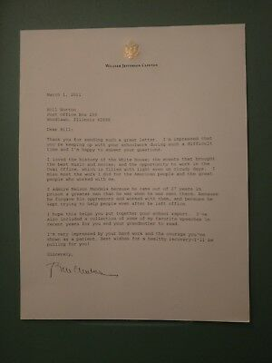 Bill Clinton Signed Letter. White House History And Nelson Mandela Most Admired.