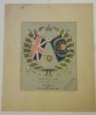 Antique one-of-a-kind WWI Great War 1914-1918 certificate commemorating service