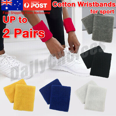 2/4 x Cotton Wristbands Wrist Band Bands Sweatbands Sweat Band for Sport Tennis