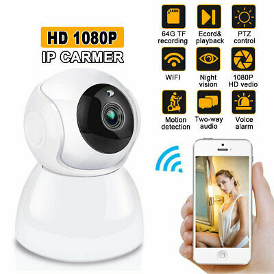 1080P Wireless WiFi Home Security Pan Tilt Camera Audio Night Vision IP Webcam