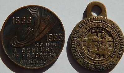 1933 Century Of Progress Electrical Buildings & 1950 California Centennial Medal