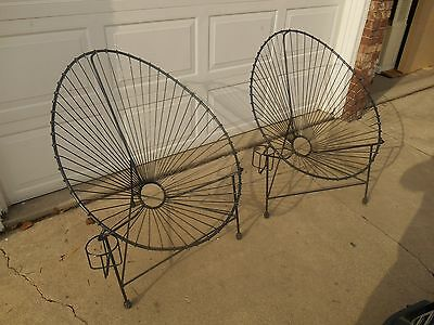 Vintage Wrought Iron Egg / Womb / Acapulco Lounge Chair Set MID CENTURY MODERN