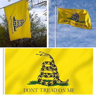 3x 3x5 Don't Tread On Me Gadsden Polyester Tea Party Snake Yellow Flag Banner fm